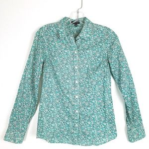 The Limited Blue Button Down Floral Shirt XS